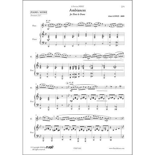 FLEX EDITIONS LOPEZ A. - AMBIANCES - FLUTE & PIANO