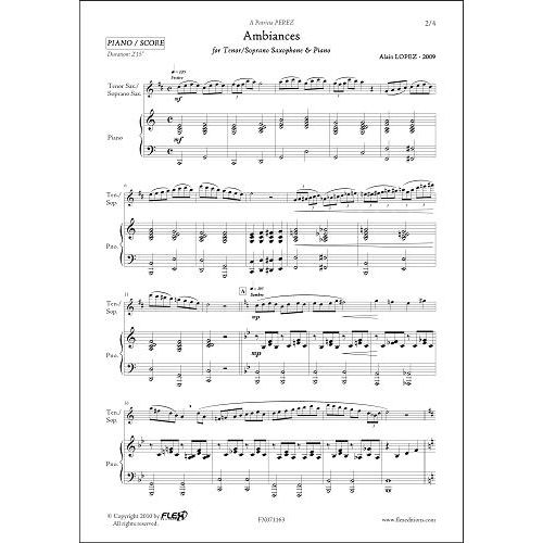 FLEX EDITIONS LOPEZ A. - AMBIANCES - TENOR SAXOPHONE OR SOPRANO & PIANO