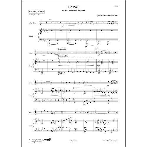 FLEX EDITIONS MAURY J.-M. - TAPAS - TENOR SAXOPHONE & PIANO
