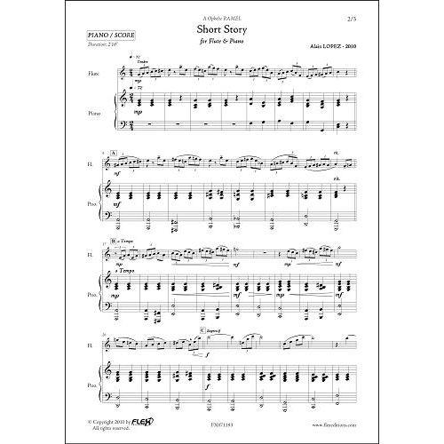 FLEX EDITIONS LOPEZ A. - SHORT STORY - FLUTE & PIANO