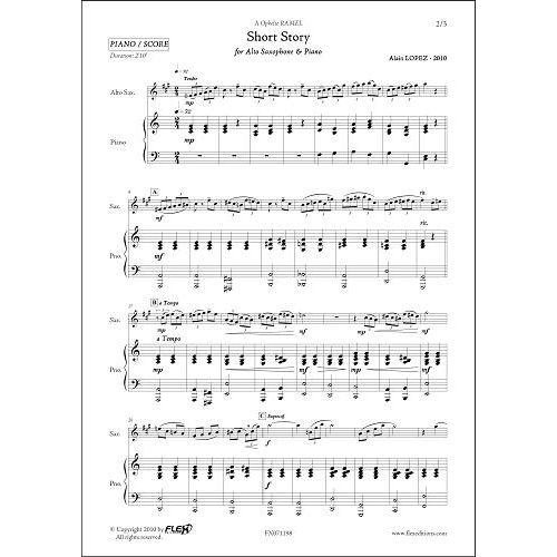 FLEX EDITIONS LOPEZ A. - SHORT STORY - ALTO SAXOPHONE & PIANO