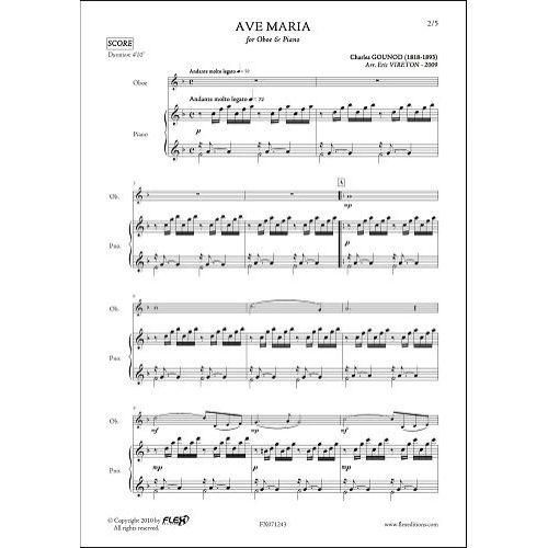 FLEX EDITIONS GOUNOD C. - AVE MARIA - OBOE & PIANO