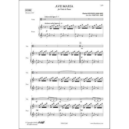 FLEX EDITIONS GOUNOD C. - AVE MARIA - VIOLA & PIANO