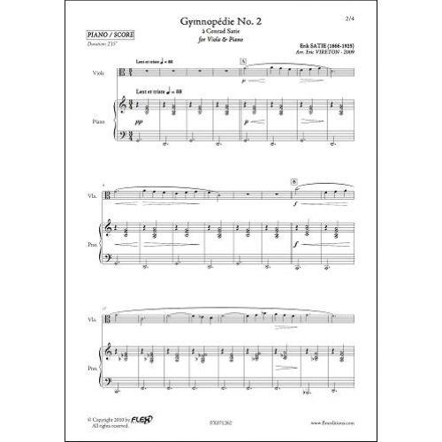 FLEX EDITIONS SATIE E. - GYMNOPEDIE NO. 2 - VIOLA & PIANO