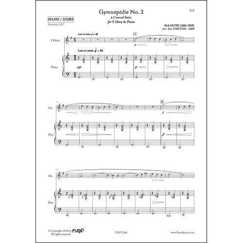 FLEX EDITIONS SATIE E. - GYMNOPEDIE NO. 2 - COR & PIANO