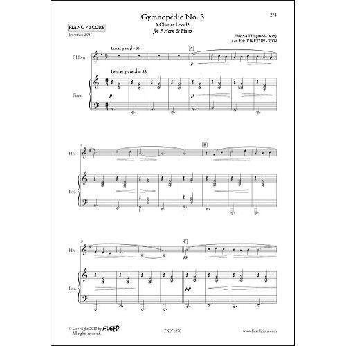 FLEX EDITIONS SATIE E. - GYMNOPEDIE NO. 3 - COR & PIANO