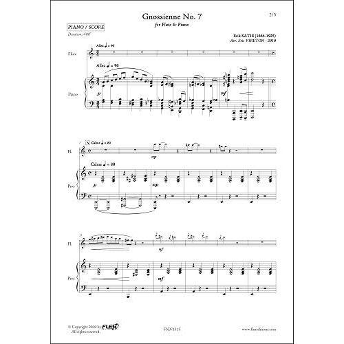 FLEX EDITIONS SATIE E. - GNOSSIENNE NO. 7 - FLUTE & PIANO