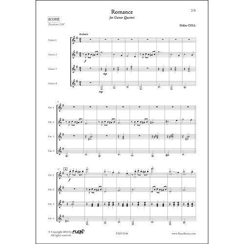 FLEX EDITIONS COLL D. - ROMANCE - GUITAR QUARTET