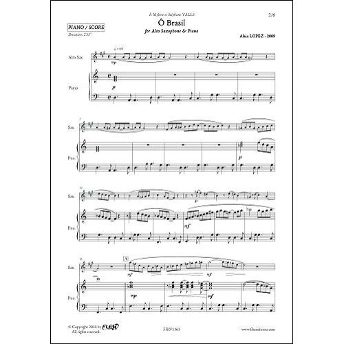 FLEX EDITIONS LOPEZ A. - Ô BRASIL - ALTO SAXOPHONE & PIANO