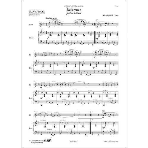 FLEX EDITIONS LOPEZ A. - REVERENCE - FLUTE & PIANO