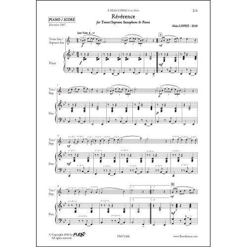 FLEX EDITIONS LOPEZ A. - REVERENCE - TENOR OR SOPRANO SAXOPHONE & PIANO