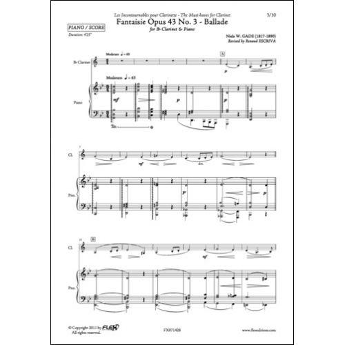FLEX EDITIONS GADE N. - FANTAISIE OPUS 43 NO. 3 - CLARINET AND PIANO