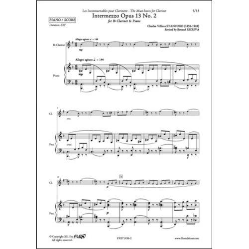 FLEX EDITIONS STANFORD C. V. - INTERMEZZO OPUS 13 NO. 2 - CLARINET AND PIANO