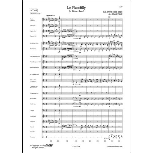 FLEX EDITIONS SATIE E. - LE PICCADILLY - CONCERT BAND