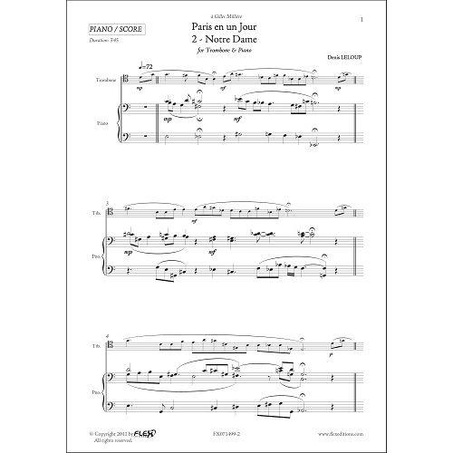 FLEX EDITIONS LELOUP D. - PARIS EN UN JOUR - 2 - NOTRE DAME - TROMBONE & PIANO