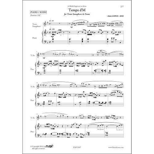 FLEX EDITIONS LOPEZ A. - TEMPS D'M - TENOR SAXOPHONE & PIANO