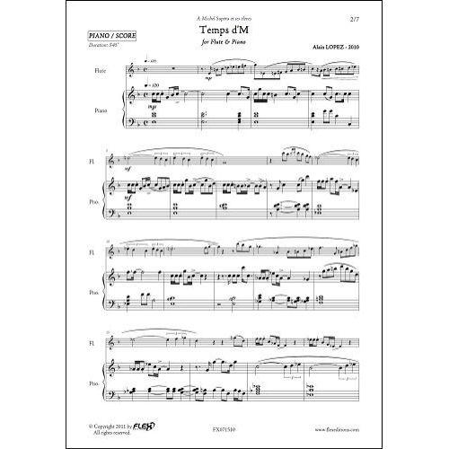 FLEX EDITIONS LOPEZ A. - TEMPS D'M - FLUTE & PIANO