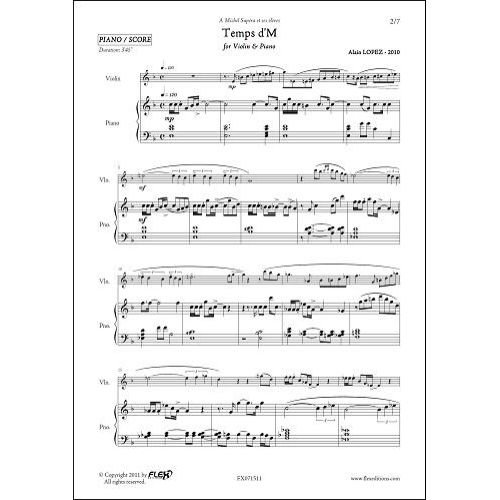 FLEX EDITIONS LOPEZ A. - TEMPS D'M - VIOLIN & PIANO