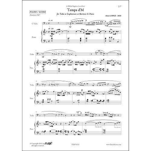 FLEX EDITIONS LOPEZ A. - TEMPS D'M - TUBA/EUPHONIUM & PIANO