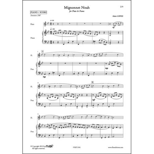 FLEX EDITIONS LOPEZ A. - MIGNONNET NOAH - FLUTE AND PIANO