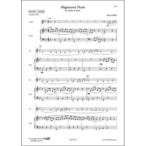 FLEX EDITIONS LOPEZ A. - MIGNONNET NOAH - VIOLIN AND PIANO