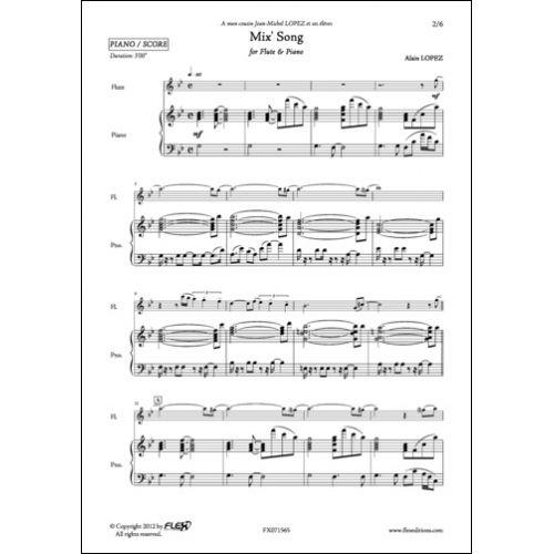 FLEX EDITIONS LOPEZ A. - MIX' SONG - FLUTE ET PIANO