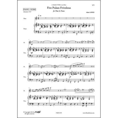 FLEX EDITIONS LOPEZ A. - FIVE PULSES FRIVOLOUS - FLUTE ET PIANO
