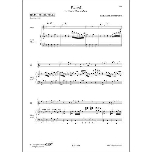 FLEX EDITIONS ROYER-CARDONA C. - KUMOI - FLUTE & HARP OR PIANO