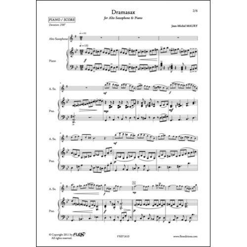 FLEX EDITIONS MAURY J.-M. - DRAMASAX - ALTO SAXOPHONE AND PIANO