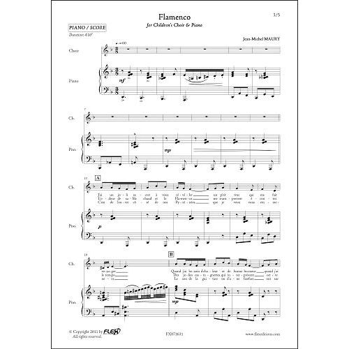 FLEX EDITIONS MAURY J.-M. - FLAMENCO - CHORALE D'ENFANTS ET PIANO