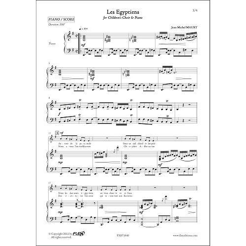 FLEX EDITIONS MAURY J.-M. - LES EGYPTIENS - CHILDREN'S CHOIR AND PIANO