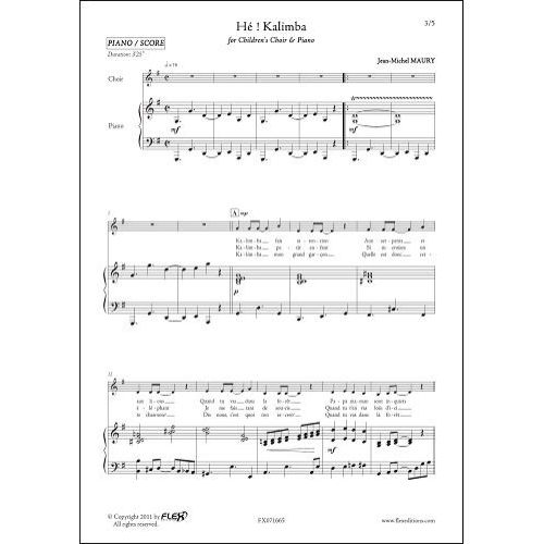 FLEX EDITIONS MAURY J.-M. - HE ! KALIMBA - CHILDREN'S CHOIR AND PIANO