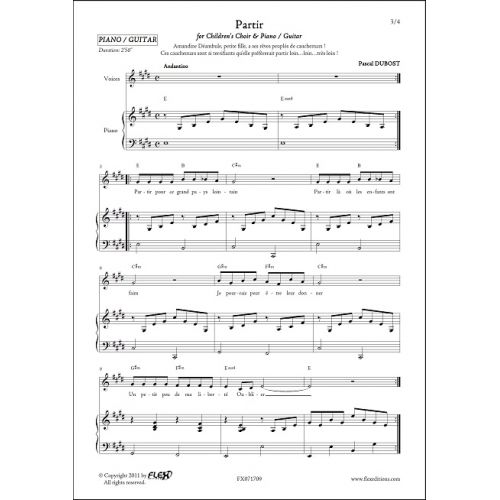 FLEX EDITIONS DUBOST P. - PARTIR - CHORALE D'ENFANTS ET PIANO OU GUITARE