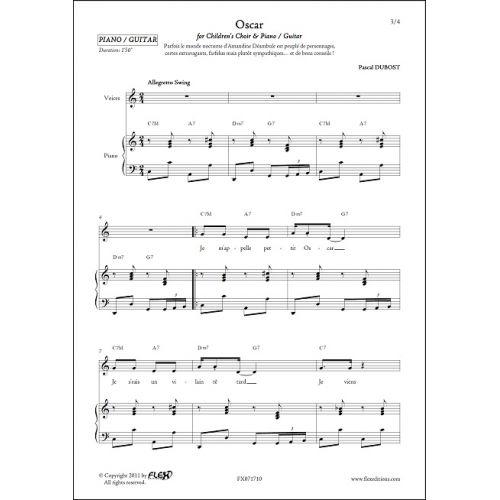 FLEX EDITIONS DUBOST P. - OSCAR - CHILDREN'S CHOIR AND PIANO OR GUITAR