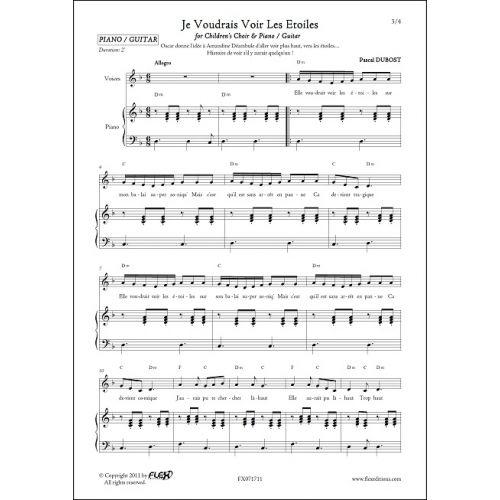 FLEX EDITIONS DUBOST P. - JE VOUDRAIS VOIR LES ETOILES - CHILDREN'S CHOIR AND PIANO OR GUITAR