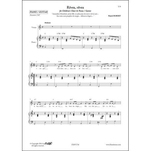 FLEX EDITIONS DUBOST P. - REVES, REVES - CHORALE D'ENFANTS ET PIANO OU GUITARE
