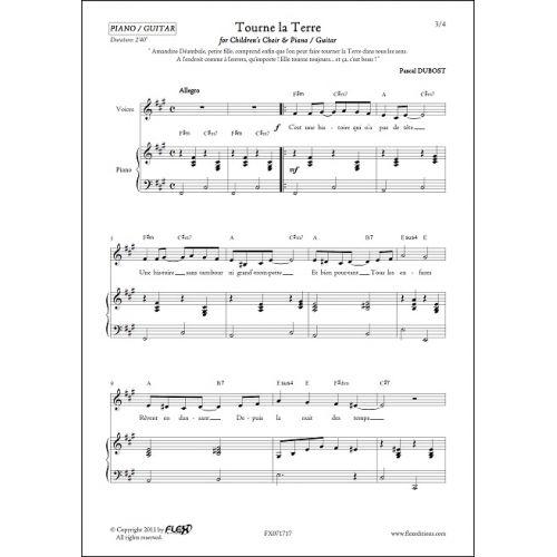 FLEX EDITIONS DUBOST P. - TOURNE LA TERRE - CHORALE D'ENFANTS ET PIANO OU GUITARE