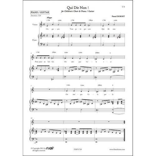FLEX EDITIONS DUBOST P. - QUI DIT NON - CHORALE D'ENFANTS ET PIANO OU GUITARE