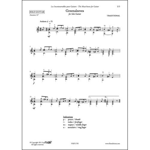 FLEX EDITIONS TRADITIONAL - GREENSLEEVES - SOLO GUITAR.