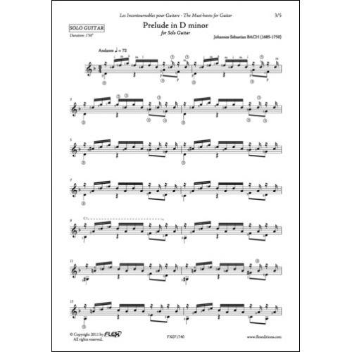 FLEX EDITIONS BACH - PRELUDE IN D MINOR - SOLO GUITAR