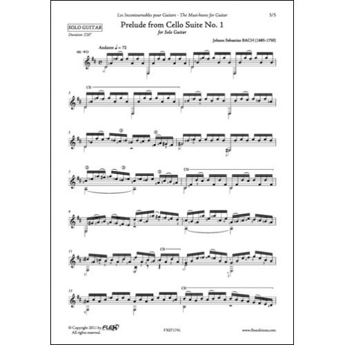 FLEX EDITIONS BACH - PRELUDE FROM CELLO SUITE NO. 1 - SOLO GUITAR