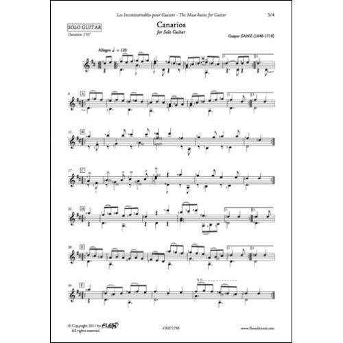 FLEX EDITIONS SANZ - CANARIOS - SOLO GUITAR