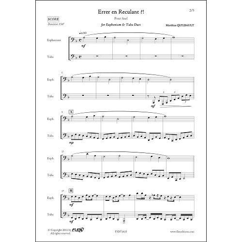FLEX EDITIONS QUILBAULT M. - ERRER EN RECULANT - EUPHONIUM & TUBA DUET