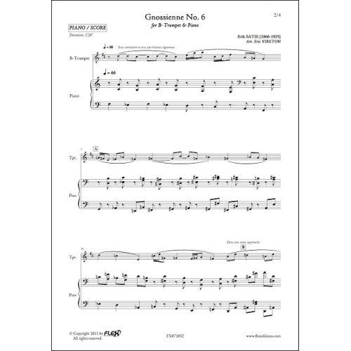 FLEX EDITIONS SATIE E. - GNOSSIENNE NO. 6 - TRUMPET & PIANO