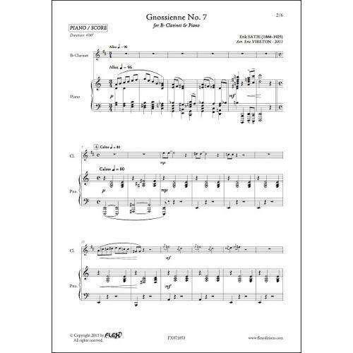 FLEX EDITIONS SATIE E. - GNOSSIENNE NO. 7 - CLARINET & PIANO
