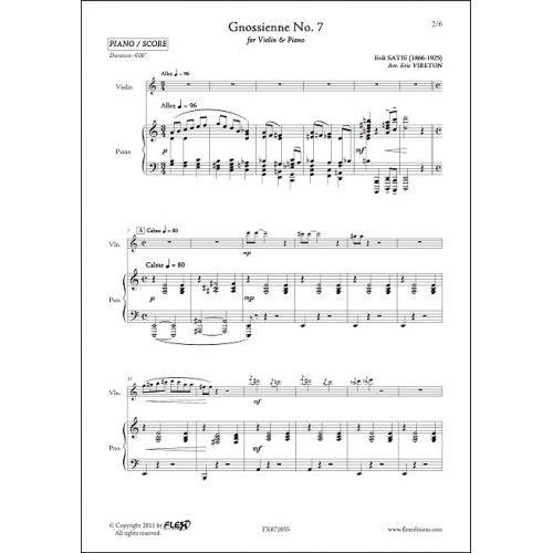 FLEX EDITIONS SATIE E. - GNOSSIENNE NO. 7 - VIOLIN & PIANO