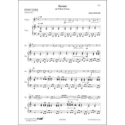 FLEX EDITIONS NAULAIS J. - SAVANE - COR & PIANO