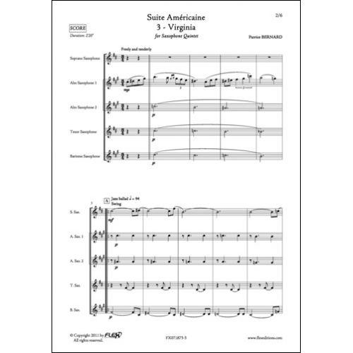 FLEX EDITIONS BERNARD P. - SUITE AMERICAINE - 3 - VIRGINIA - SAXOPHONE QUINTET