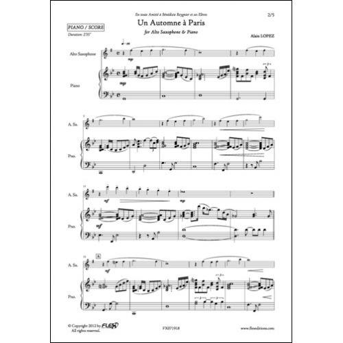 FLEX EDITIONS LOPEZ A. - UN AUTOMNE A PARIS - ALTO SAXOPHONE AND PIANO