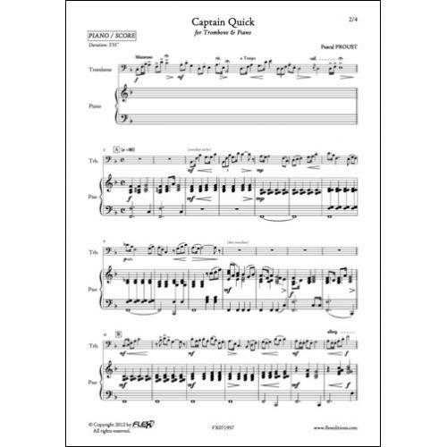 FLEX EDITIONS PROUST P. - CAPTAIN QUICK - TROMBONE AND PIANO